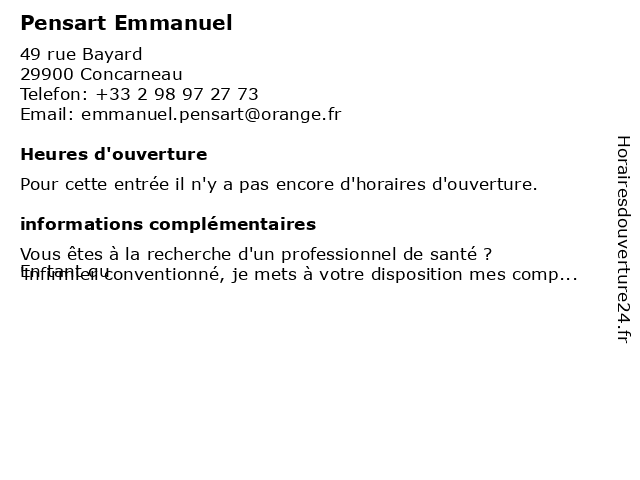 Pensart Emmanuel à Concarneau: adresse et heures d'ouverture