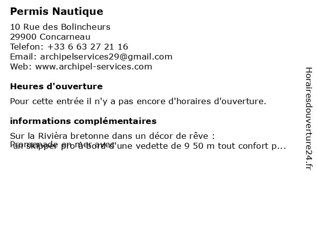 Permis Nautique à Concarneau: adresse et heures d'ouverture