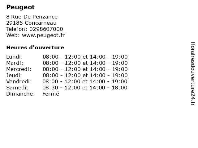 Peugeot à Concarneau: adresse et heures d'ouverture