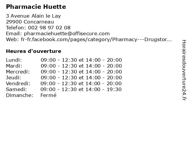 Pharmacie Huette à Concarneau: adresse et heures d'ouverture