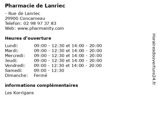 Pharmacie de Lanriec à Concarneau: adresse et heures d'ouverture