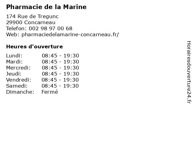 Pharmacie de la Marine à Concarneau: adresse et heures d'ouverture