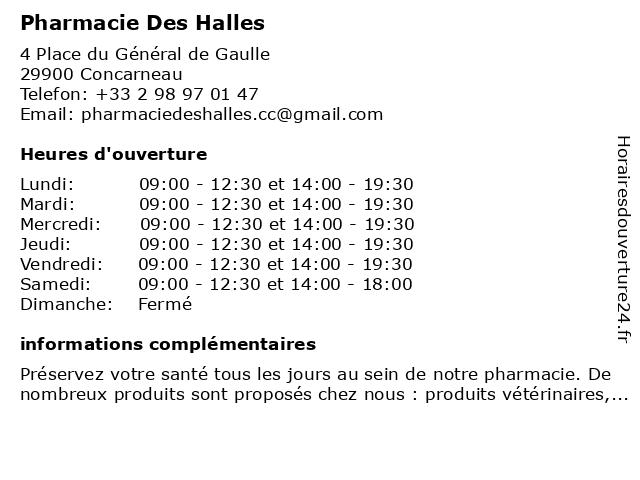 Pharmacie des Halles à Concarneau: adresse et heures d'ouverture