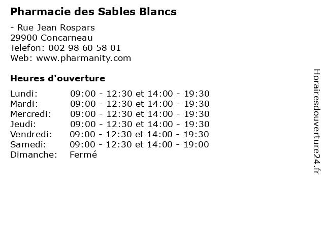 Pharmacie des Sables Blancs à Concarneau: adresse et heures d'ouverture