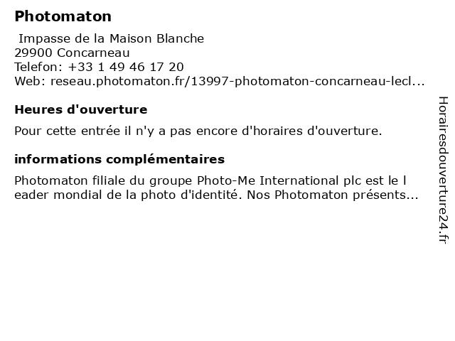 Photomaton à Concarneau: adresse et heures d'ouverture