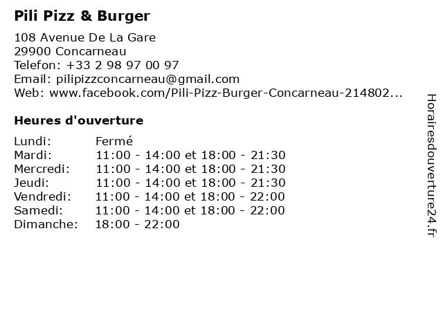 Pili Pizz & Burger à Concarneau: adresse et heures d'ouverture