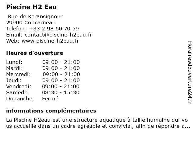 Piscine H2 Eau à Concarneau: adresse et heures d'ouverture