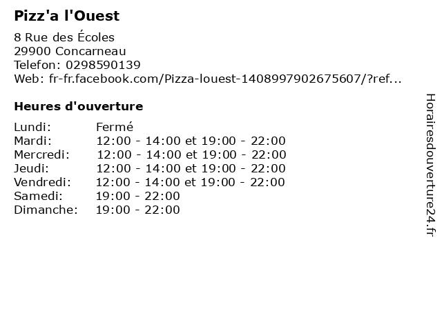 Pizz'a l'Ouest à Concarneau: adresse et heures d'ouverture
