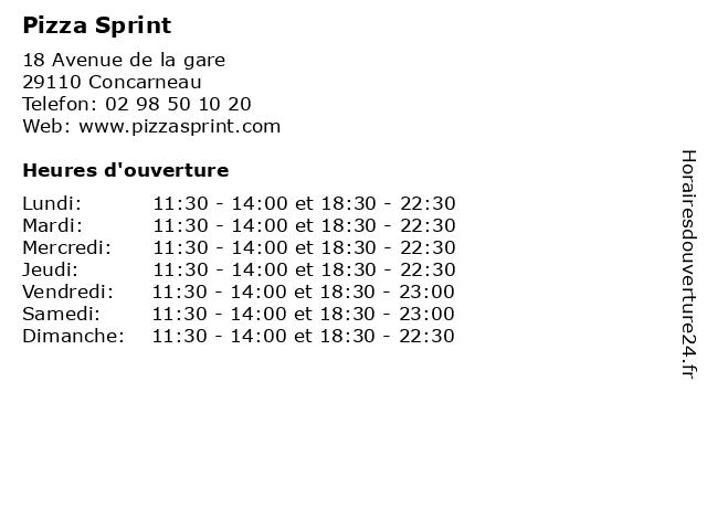 Pizza Sprint à Concarneau: adresse et heures d'ouverture