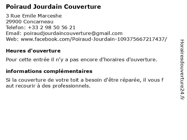 Poiraud Jourdain Couverture à Concarneau: adresse et heures d'ouverture