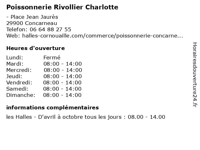 Poissonnerie Rivollier Charlotte à Concarneau: adresse et heures d'ouverture