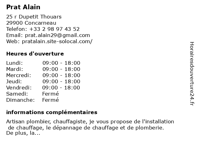 Prat Alain à Concarneau: adresse et heures d'ouverture