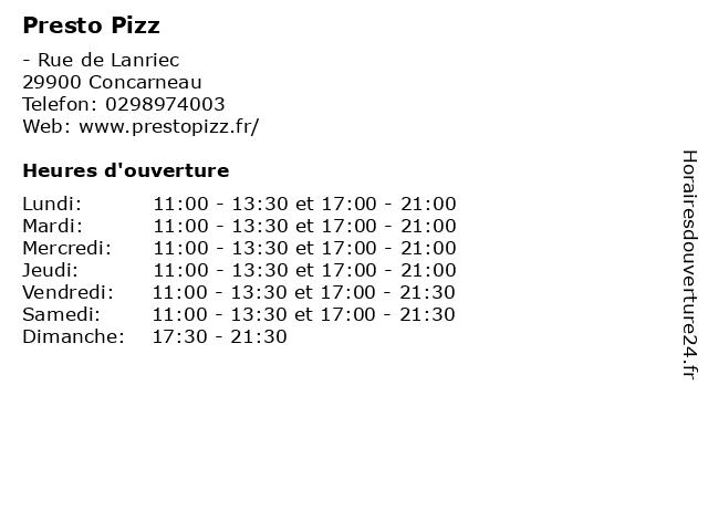 Presto Pizz à Concarneau: adresse et heures d'ouverture