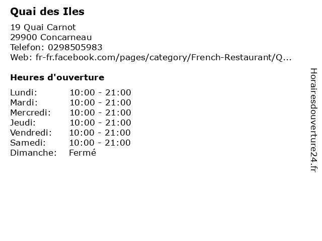 Quai des Iles à Concarneau: adresse et heures d'ouverture