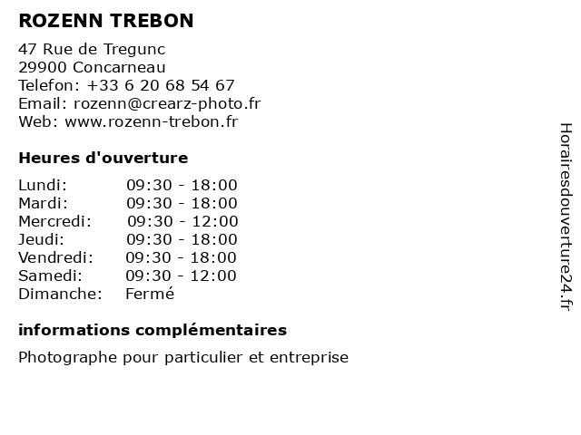 ROZENN TREBON à Concarneau: adresse et heures d'ouverture