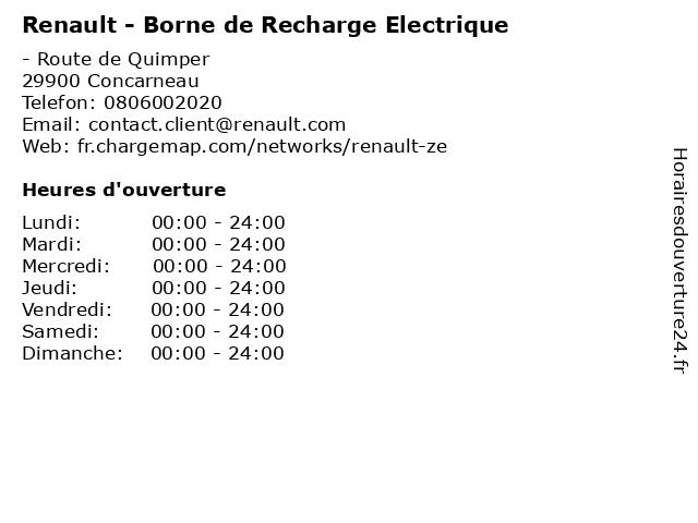 Renault - Borne de Recharge Electrique à Concarneau: adresse et heures d'ouverture
