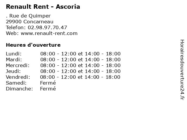 Renault Rent - Ascoria à Concarneau: adresse et heures d'ouverture