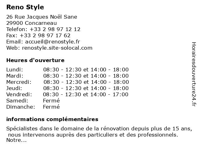 Reno Style à Concarneau: adresse et heures d'ouverture