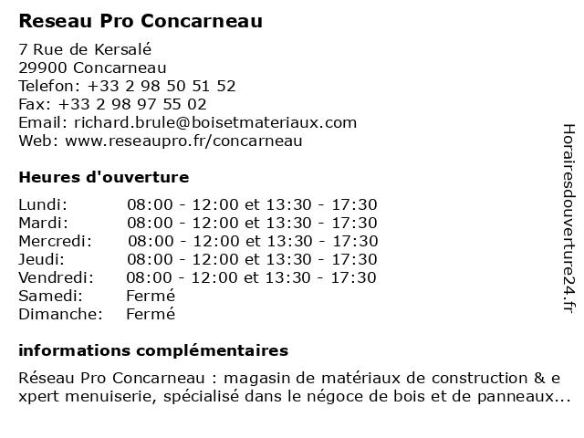 Reseau Pro Concarneau à Concarneau: adresse et heures d'ouverture
