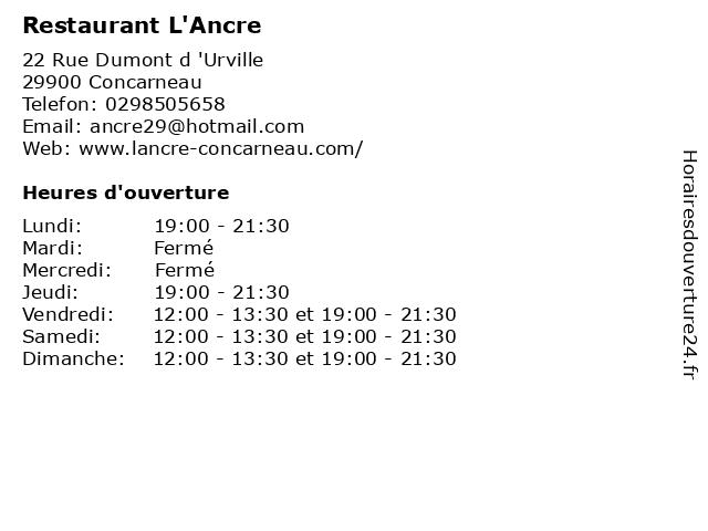 Restaurant L'Ancre à Concarneau: adresse et heures d'ouverture