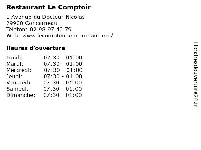 Restaurant Le Comptoir à Concarneau: adresse et heures d'ouverture