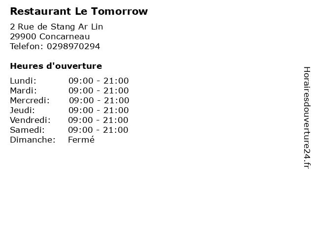 Restaurant Le Tomorrow à Concarneau: adresse et heures d'ouverture