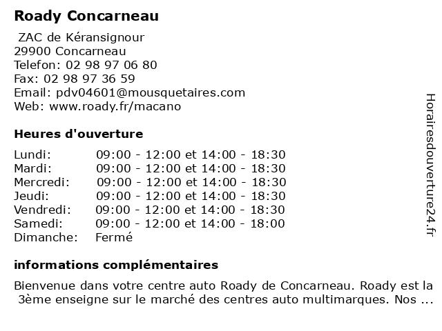 Roady Concarneau à Concarneau: adresse et heures d'ouverture