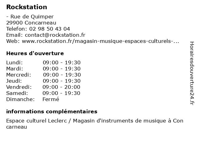 Rockstation à Concarneau: adresse et heures d'ouverture