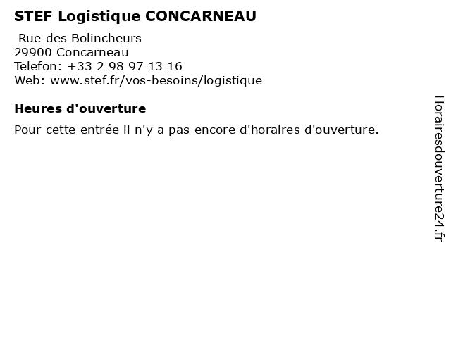STEF Logistique CONCARNEAU à Concarneau: adresse et heures d'ouverture