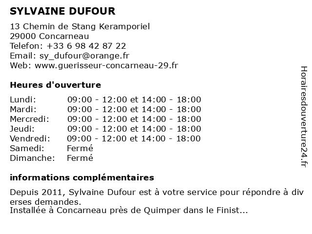 SYLVAINE DUFOUR à Concarneau: adresse et heures d'ouverture
