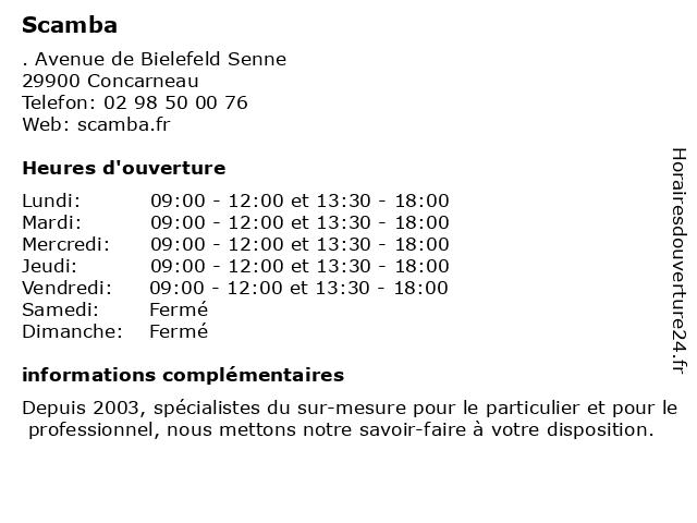 Scamba à Concarneau: adresse et heures d'ouverture