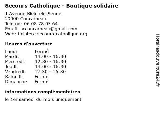 Secours Catholique - Boutique solidaire à Concarneau: adresse et heures d'ouverture