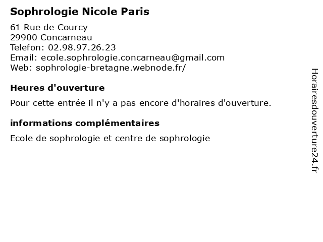 Sophrologie Nicole Paris à Concarneau: adresse et heures d'ouverture