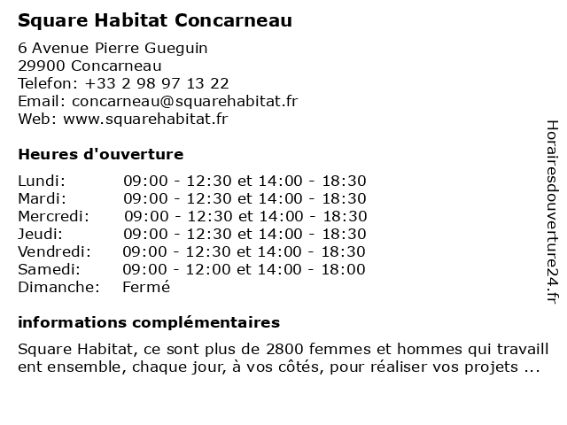 Square Habitat Concarneau à Concarneau: adresse et heures d'ouverture