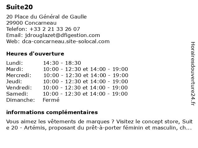 Suite20 à Concarneau: adresse et heures d'ouverture
