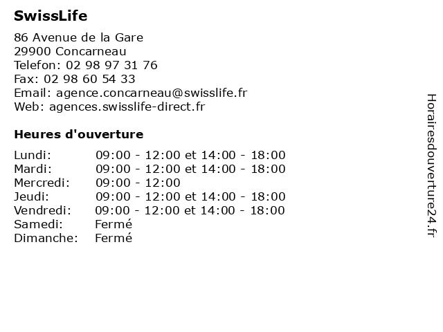 SwissLife à Concarneau: adresse et heures d'ouverture