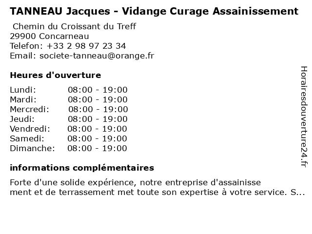 TANNEAU Jacques - Vidange Curage Assainissement à Concarneau: adresse et heures d'ouverture