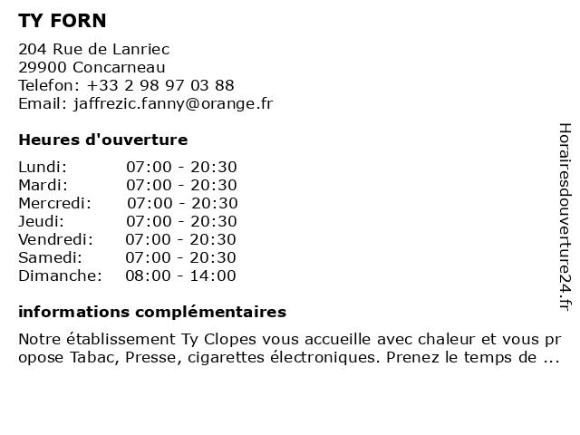 TY FORN à Concarneau: adresse et heures d'ouverture