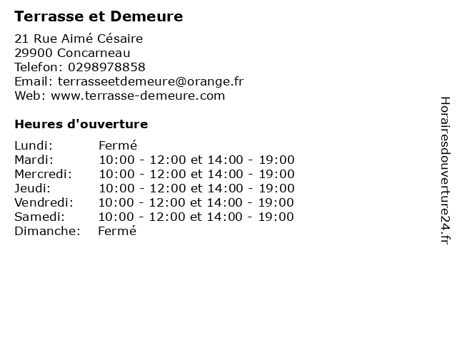Terrasse et Demeure à Concarneau: adresse et heures d'ouverture