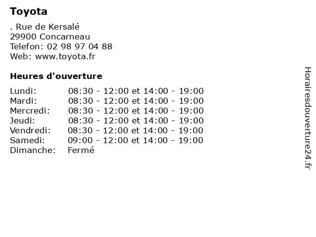 Toyota à Concarneau: adresse et heures d'ouverture