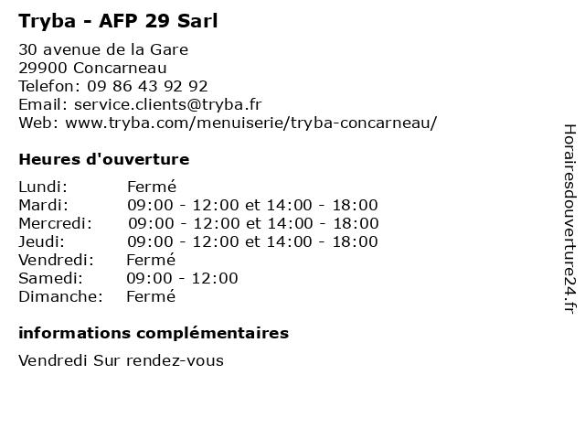 Tryba - AFP 29 Sarl à Concarneau: adresse et heures d'ouverture