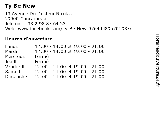 Ty Be New à Concarneau: adresse et heures d'ouverture