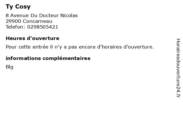 Ty Cosy à Concarneau: adresse et heures d'ouverture