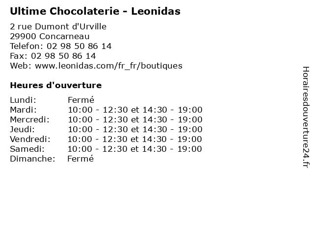 Ultime Chocolaterie - Leonidas à Concarneau: adresse et heures d'ouverture