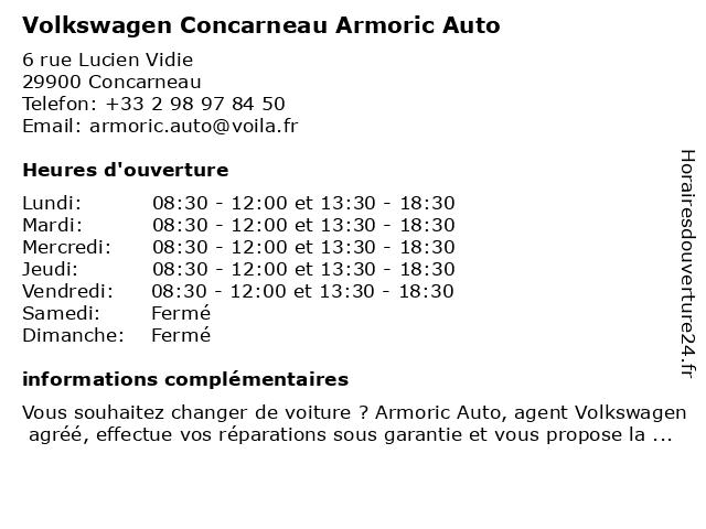 Volkswagen Concarneau Armoric Auto à Concarneau: adresse et heures d'ouverture