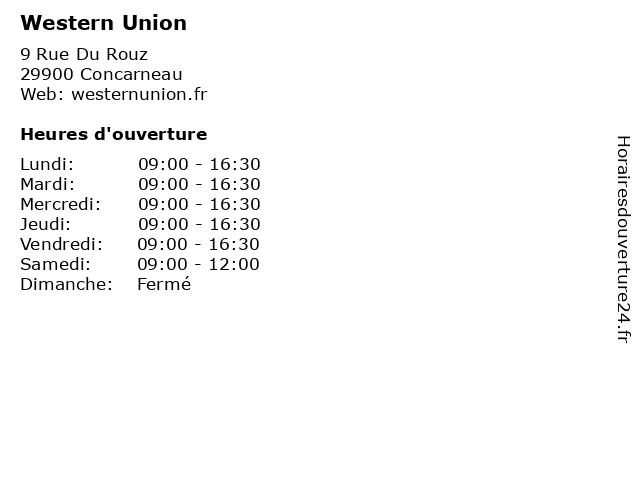 Western Union à Concarneau: adresse et heures d'ouverture