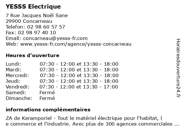 YESSS ELECTRIQUE à Concarneau: adresse et heures d'ouverture
