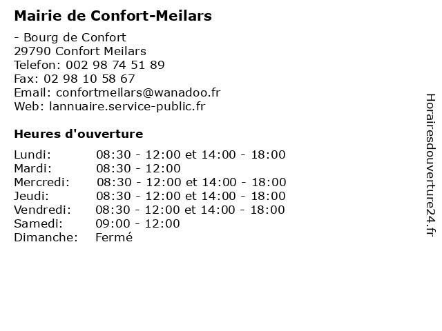 Mairie de Confort-Meilars à Confort Meilars: adresse et heures d'ouverture