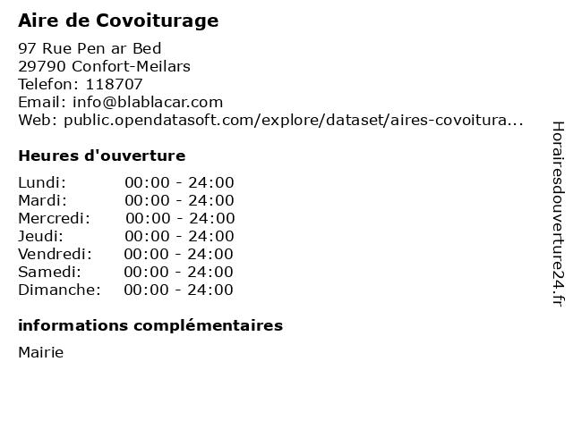 Aire de Covoiturage à Confort-Meilars: adresse et heures d'ouverture