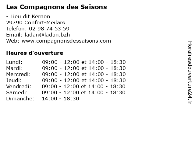 Les Compagnons des Saisons à Confort-Meilars: adresse et heures d'ouverture